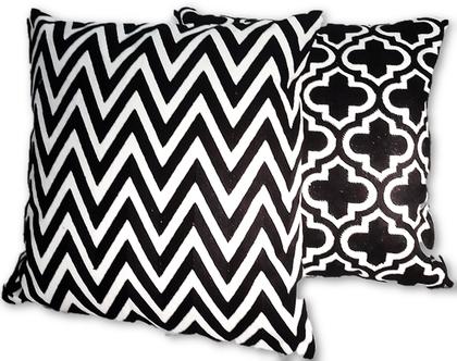 סט כריות רקמה בצבע שחור ולבן 45X45 סמ