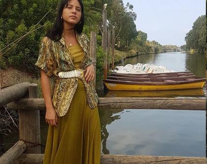 חליפה וינטג', חליפה 4 חלקים, חליפת חצאית, חליפה עם חגורה, חליפה סתווית, חליפה ירוק זית, חליפה לאירוע, חליפה לנשים