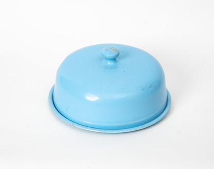 פעמון להגשת מזון, עשוי אמייל בגווני תכלת / ירקרק