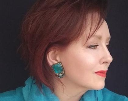 עגילי טורקיז גדולים, עגילים עם נוכחות, עגילי קליפס צמודים, עגילים מרובעים כחולים תכלת