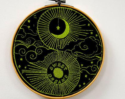 תמונה זוהרת בחושך, רקמה זוהרת, תמונה ירח וכוכבים, מתנה מיוחדת, תמונה לחדר שינה