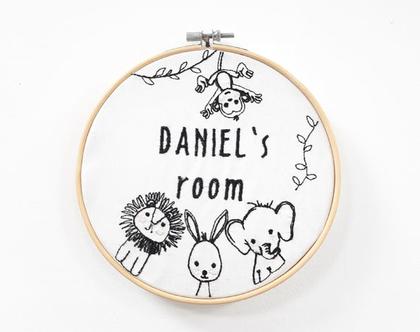 שלט לחדר ילדים עם שם הילד-בעברית או באנגלית, שלט מותאם אישית, שלט חיות, תמונה לחדר ילדים, מתנה לילד