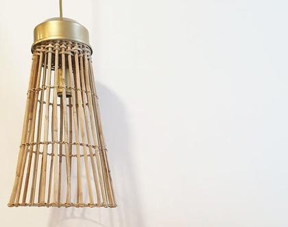 מנורת תלייה מראטן   simple raten long   מנורת תלייה מקש