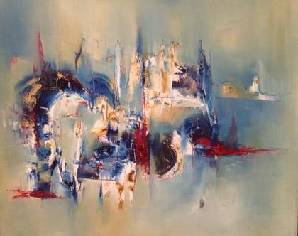 """אומנות , ציור מקורי , """"Oil on Canvas """"INHABITING THE FUTURE"""