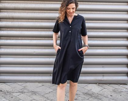 שמלת כפתורים שחורה, שמלה קצרה עם כיסים, שמלה יפה לעבודה וליום יום, שמלת קז'ואל לנשים, שמלת כותנה 6000