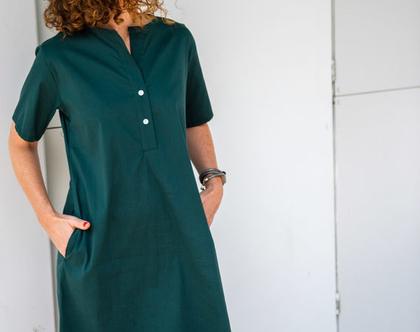 שמלת כפתורים קצרה, שמלה עם כיסים, שמלה יפה לעבודה וליום יום, שמלת קז'ואל לנשים, שמלה מכותנה 6000