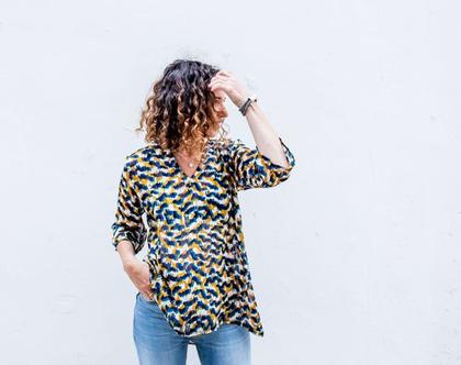 חולצת שיפון שקופה, חולצת נשים צבעונית, חולצה ליום יום או לערב, חולצת גלביה, חולצת שרוול 3/4 , חולצת קז'ואל, חולצה יפה לחג, חולצה אלגנטית