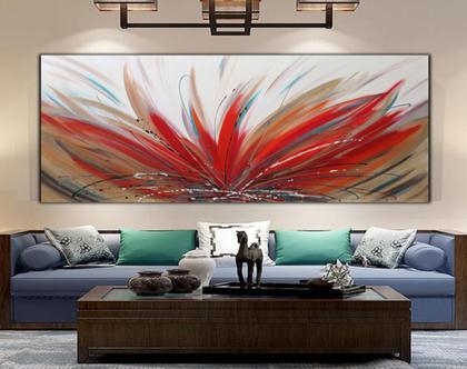 """""""להבה"""" - ציור אבסטרקטי בעבודת יד בצבעים חיים."""