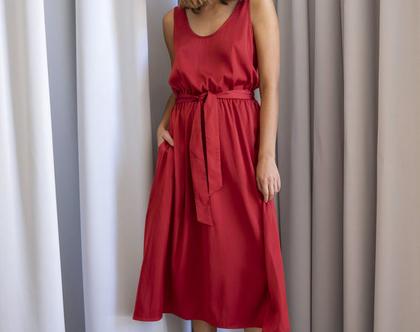שמלת סאטן בצבע בריק, שמלת גופיה, שמלת ערב קלילה, שמלת מידי אדומה