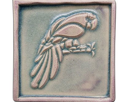 """אריח בעבודת יד """"ציפור על ענף"""""""
