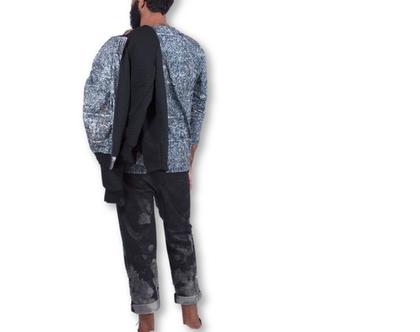 ג׳קט בומבר מודפס לגבר / דפוס עלים / קמופלאג׳ bomber jacket