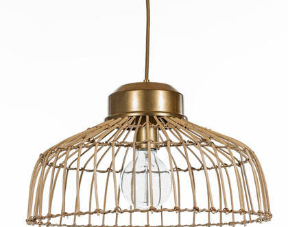 מנורת תלייה מראטן   GOLD & RATEN COLLECTION #1   גוף תאורה מראטן