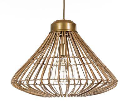 מנורת תלייה מראטן   GOLD & RATEN COLLECTION #2   גוף תאורה מראטן