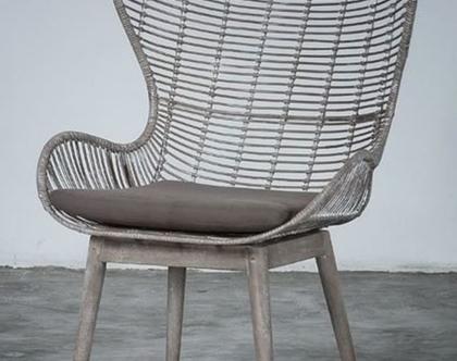 כורסת ראטן, בשילוב רגלי עץ   BOHO CHIC COLLECTION #2   כורסא מראטן כולל כרית