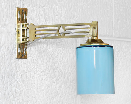 זוג מנורות קיר ארט דקו תכולות, מנורות פליז, מנורות לילה מוזהבות