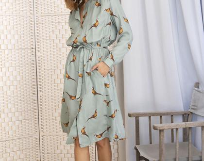 שמלה מכופתרת ירוקה הדפס ציפורים , שמלה עם שרוולים ארוכים