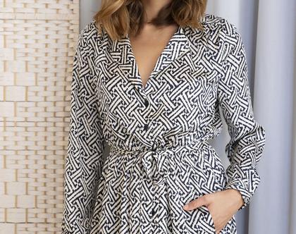 שמלה מכופתרת הדפס 70s , שמלה עם שרוולים ארוכים
