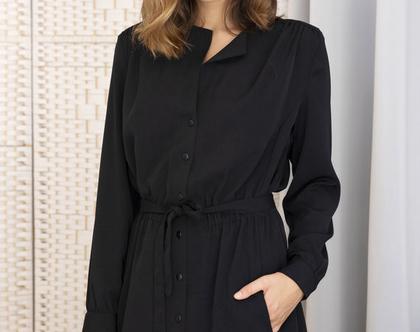 שמלה מכופתרת שחורה , שמלה עם שרוולים ארוכים