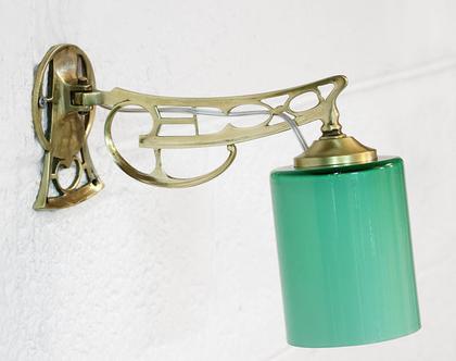 מנורת קיר אר נובו טורקיזית, מנורת ברונזה, מנורת לילה מוזהבת