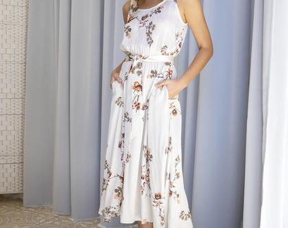 שמלת סאטן פרחונית , שמלת ערב פרחונית, שמלת מידי הדפס פרחוני