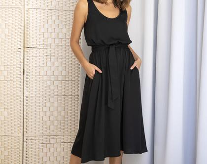 שמלת סאטן שחורה , שמלת ערב שחורה, שמלת מידי שחורה