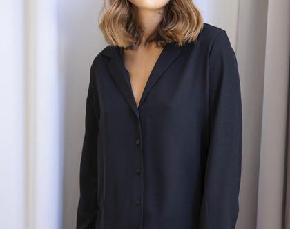 חולצה שחורה מכופתרת , חולצה עם שרוול ארוך