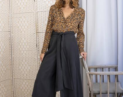 מכנסיים שחורים מתרחבים עם מותן גבוהה , מכנסי קשירה , מכנס חצאית
