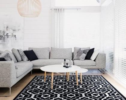 """שטיח קילים 200X290 ס""""מ שחור לבן"""