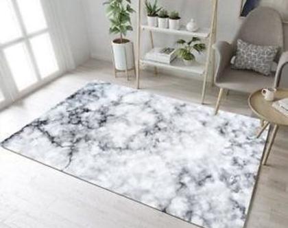 """שטיח מארבל 160x220 ס""""מ לסלון I שטיח לחדר השינה, שטיח מודרני בדוגמת שיש שחור לבן"""