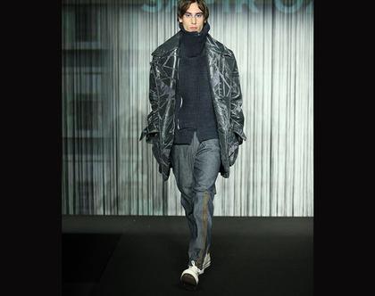 מכנס ג׳ינס לגבר / ג׳ינס סגנון טרנינג עם ריצרץ ספורטיבי jeans