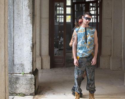 חולצה ללא שרוולים לגבר / חולצה מבד ג׳ינס מודפס