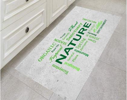 שטיח ויניל דגם Nature ירוק   שטיח pvc מעוצב   שטיח למטבח   שטיח pvc לבית