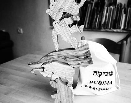 פאזל פירמידת החיות מעץ אגוז אפריקאי