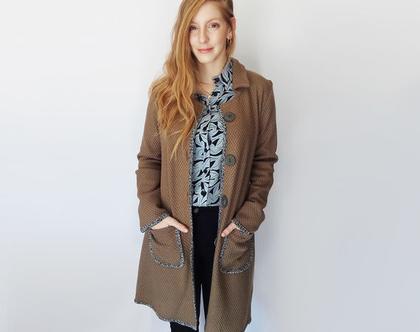מעיל קל סרוג בצבע חום ירקרק