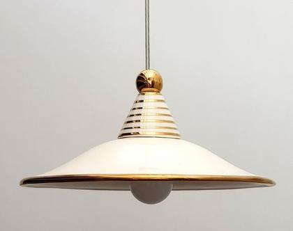 מנורה קטנה - גוף תאורה קטן - מנורה מיוחדת מקרמיקה - עיטור זהב - תאורת אווירה - גוף תאורה מקרמיקה - פינת אוכל קטנה
