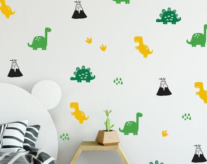 מדבקות קיר לחדר ילדים וחדר תינוקות דינוזאורים, מדבקות קיר לילידם | מדבקות דינוזאורים | מדבקות קיר לחדרי ילדים