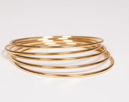 צמידי חישוק זהב דקים לנשים stainless steel