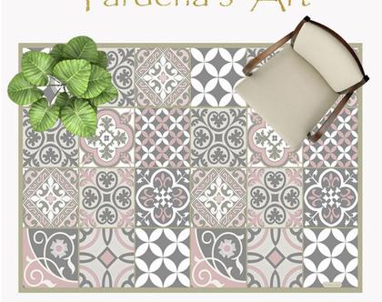 שטיח פי.וי.סי מעוצב דגם Mix Tiles Gray&Pink| שטיח למטבח | שטיח בעיצוב מקורי | שטיח פיויסי מעוצב לבית ולמשרד