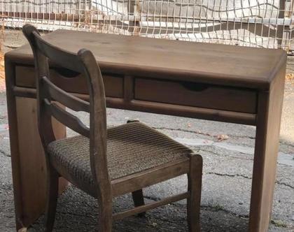 שולחן כתיבה/שולחן איפור - מעץ מלא 2מגירות