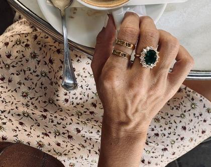 טבעת פסים | טבעת מצופה בזהב| טבעת גיאומטרית|