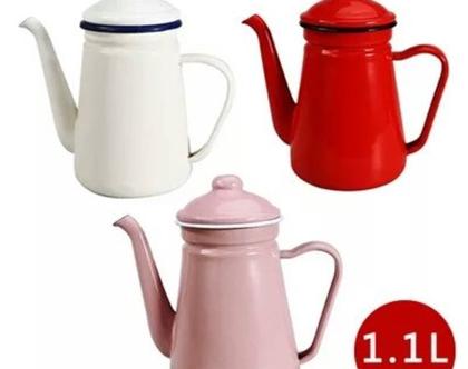קומקום קנקן חדש כד אמייל מעוצב 1.1 ליטר קנקן אמייל צבעים שונים רטרו קנקני קפה קומקום תה