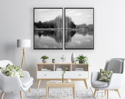 סט תמונות forest in river | תמונו בעיצוב נורדי | תמונות שחור ולבן| סט תמונות בעיצוב מינימליסטי | תמונות לסלון | תמונות בעיצוב מקורי