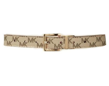 Michael Kors | חגורת לוגו דו צדדית חום/בז׳ מיקל קורס