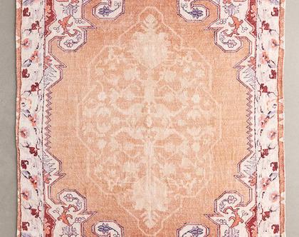 שטיח כותנה ומשי ורוד-כתום בעיצוב בוהו