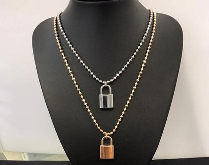 שרשרת מנעול זהב - שרשרת עם מנעול גדול כסף
