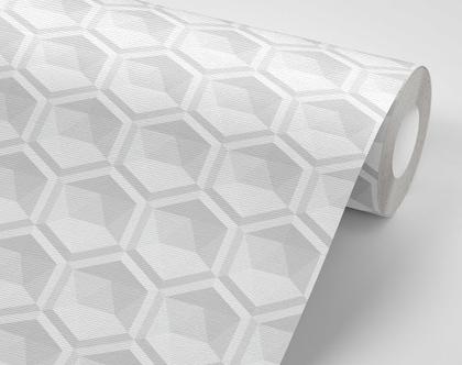 טפט מבוסס בד להדבקה קלה דגם משושה 3D