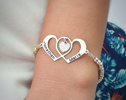 צמיד לב זהב לזוג מאוהב - צמיד לבת זוג - צמיד חריטה חרוזי לייזר - מתנה לחברה - צמיד שם מעוצב