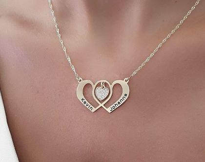 שרשרת לב זהב לזוג מאוהב - מתנה לבת זוג - שרשרת חריטה - מתנה לחברה - מתנה ליום נישואין - מתנה ליום הולדת