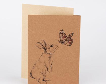 כרטיס ברכה ארנב,ברכה ליום הולדת,כרטיס ברכה מאויר, מתנה