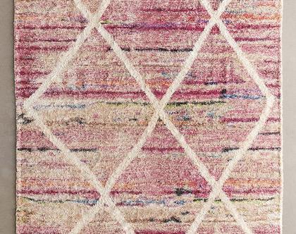 שטיח שאגי מרוקאי ורוד
